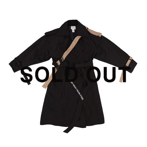 (SEASON OFF 40%) OVER TRENCH COAT  / BLACK