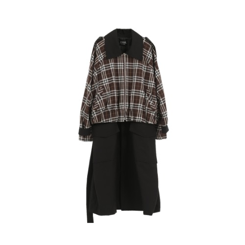 Plaid Crop Trench coat / black