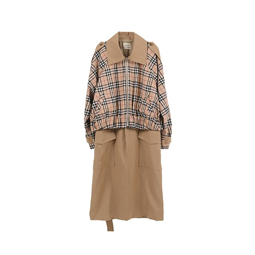 Plaid Crop Trench coat / brown